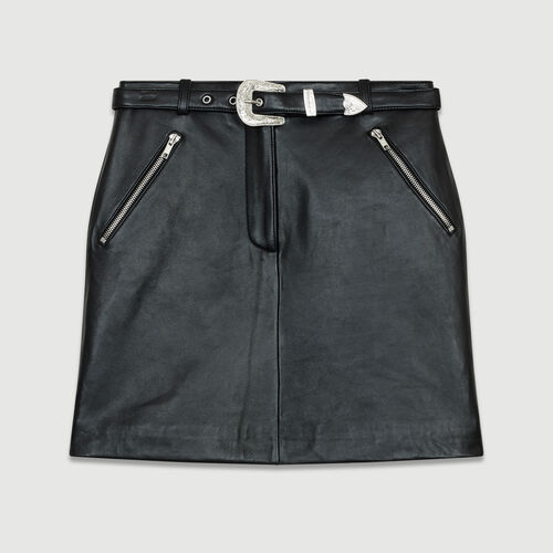 Falda corta de cuero : Prêt-à-porter color Negro