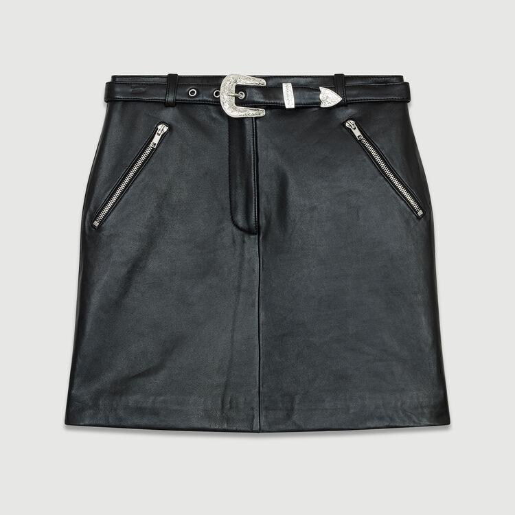 Falda corta de cuero : Faldas y shorts color Negro