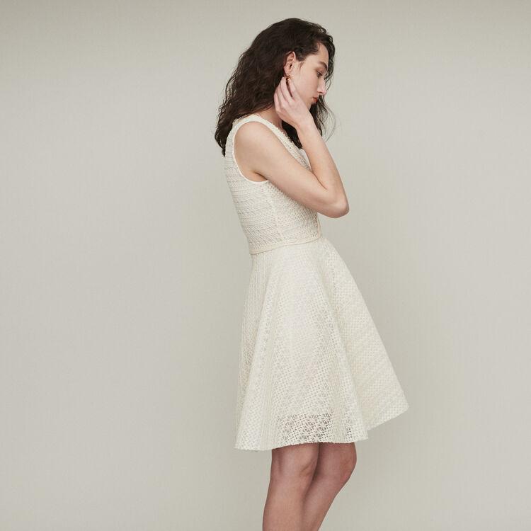 Vestido sin mangas de punto cesta : Vestidos color ECRU
