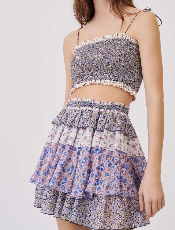 Falda estampada de algodón con volantes - Faldas y shorts - MAJE