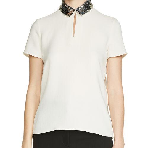 Top con cuello de lentejuelas : Tops color Blanco