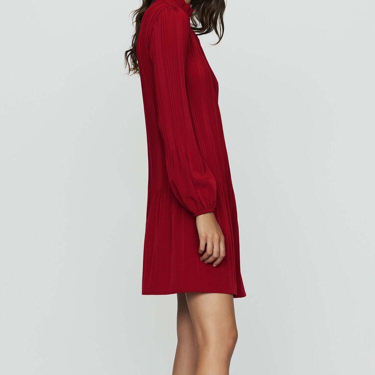 Vestido corto plisado : Vestidos color Frambuesa