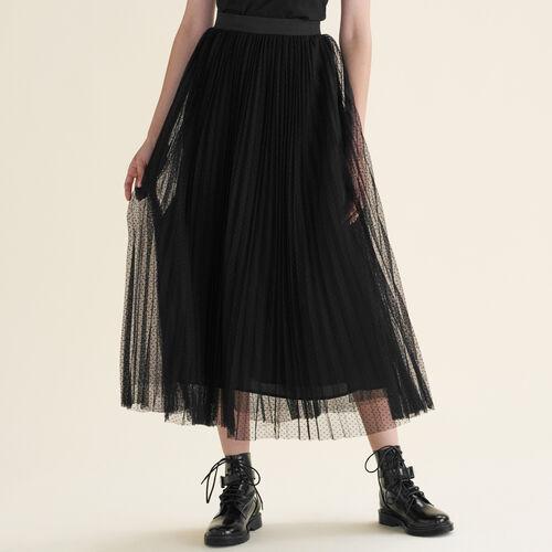 Falda larga plisada de plumetis : Faldas y shorts color Negro