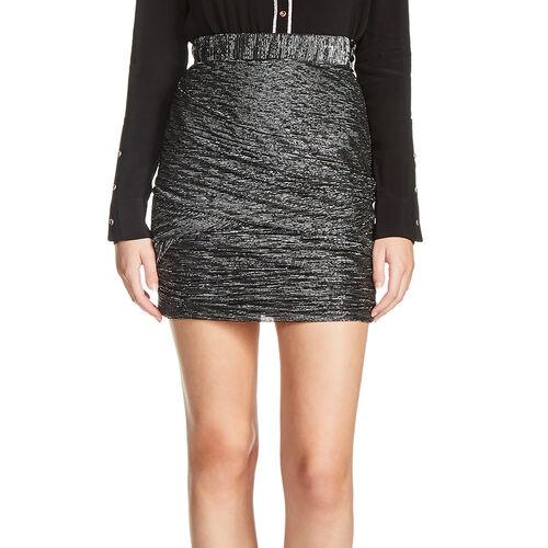 Falda corta de lúrex con efecto drapeado : Faldas y shorts color Negro