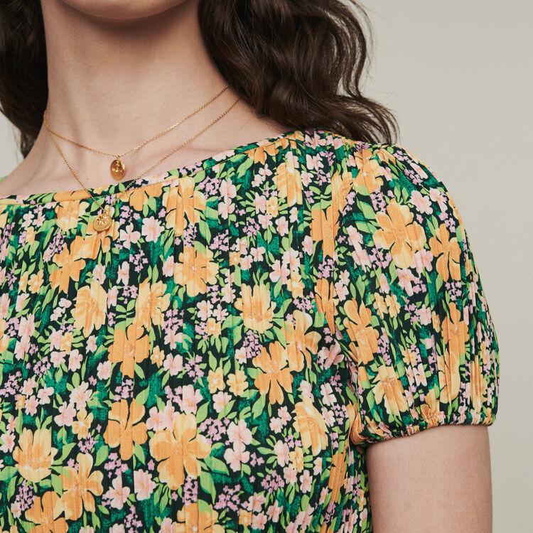 Vestido plisado estampado floral : Vestidos color IMPRIME
