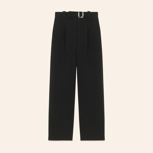 Pantalón ancho con cinturón : Pantalones y vaqueros color Negro