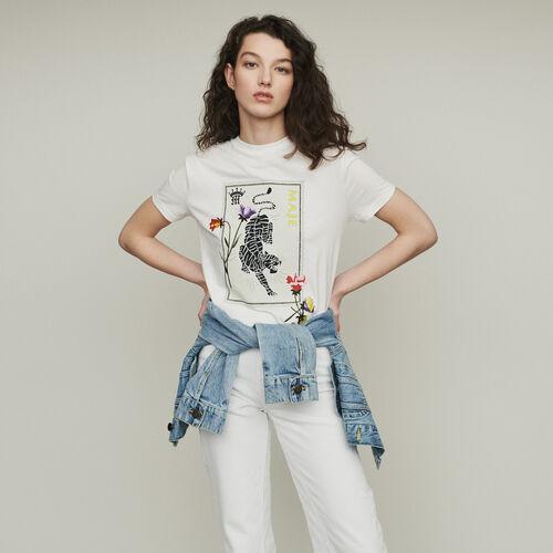Camiseta estampada con bordados : T-Shirts color Blanco