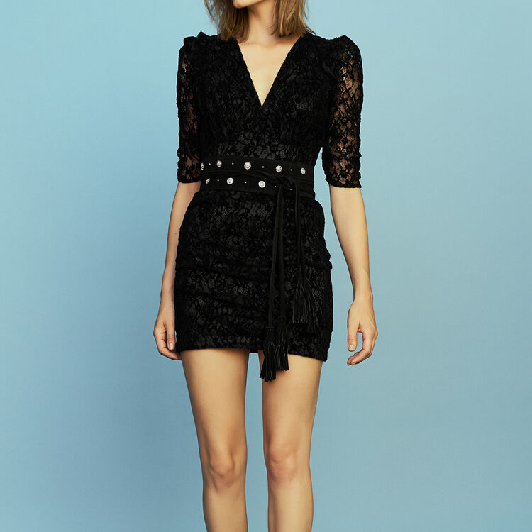 Vestido de encaje de terciopelo : Vestidos color Negro
