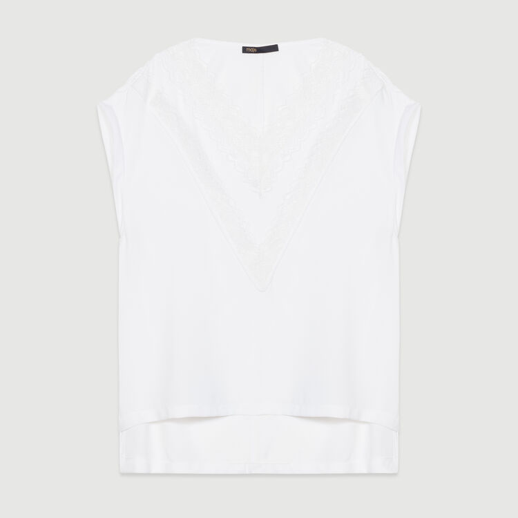 Top oversize con encaje : Tops color Blanco