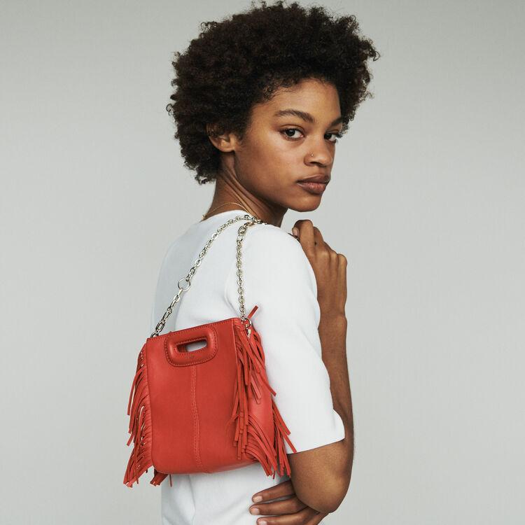 Mini bolso M de cuero con flecos : M Mini color Rojo