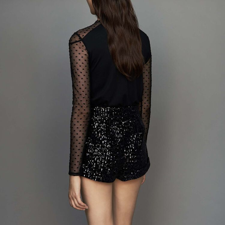 Short con lentejuelas : Faldas y shorts color Negro