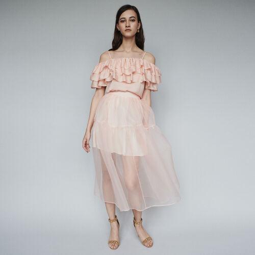 Falda larga tipo organza : Faldas y shorts color Mandarina