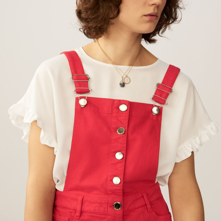 Vestido peto denim : Vestidos color ROUGE