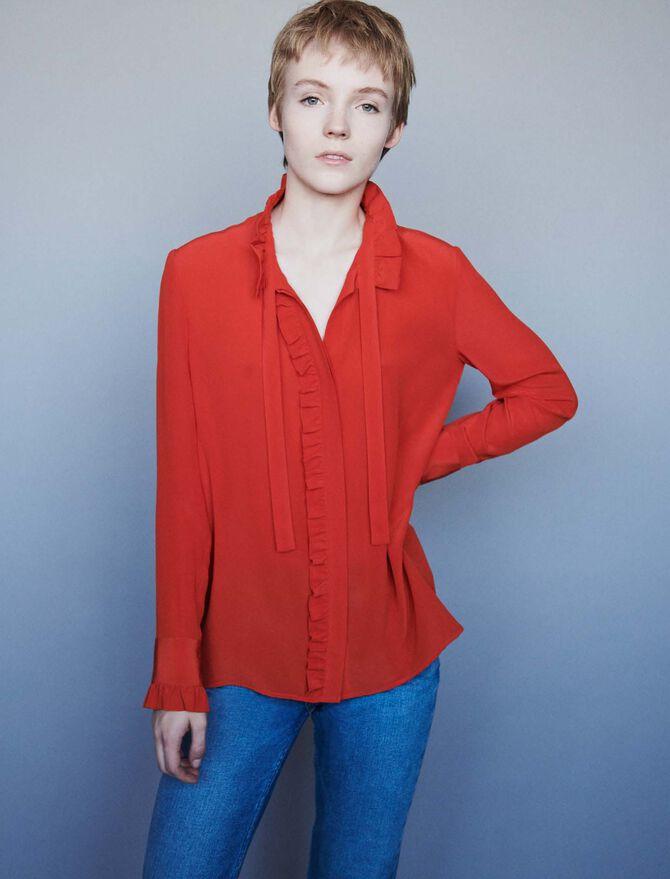 Blusa de seda  con volantes y lavalliere - Tops y Camisas - MAJE