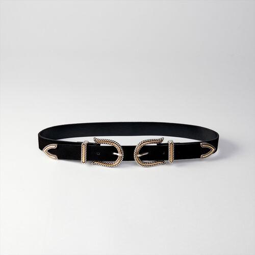 Cinturón tiro alto doble hebilla : Cinturones color Negro