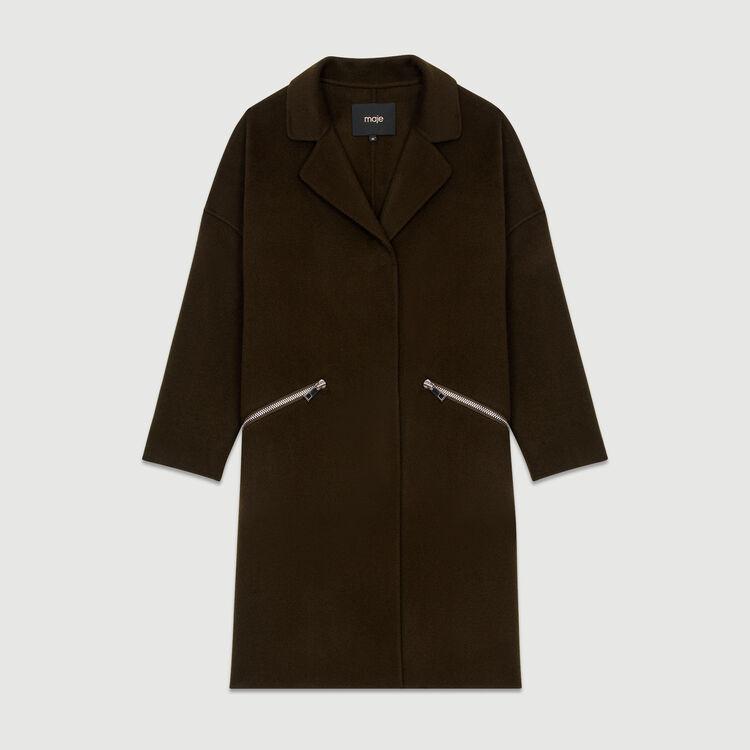 Abrigo de lana doble faz : Burdeos color Caqui