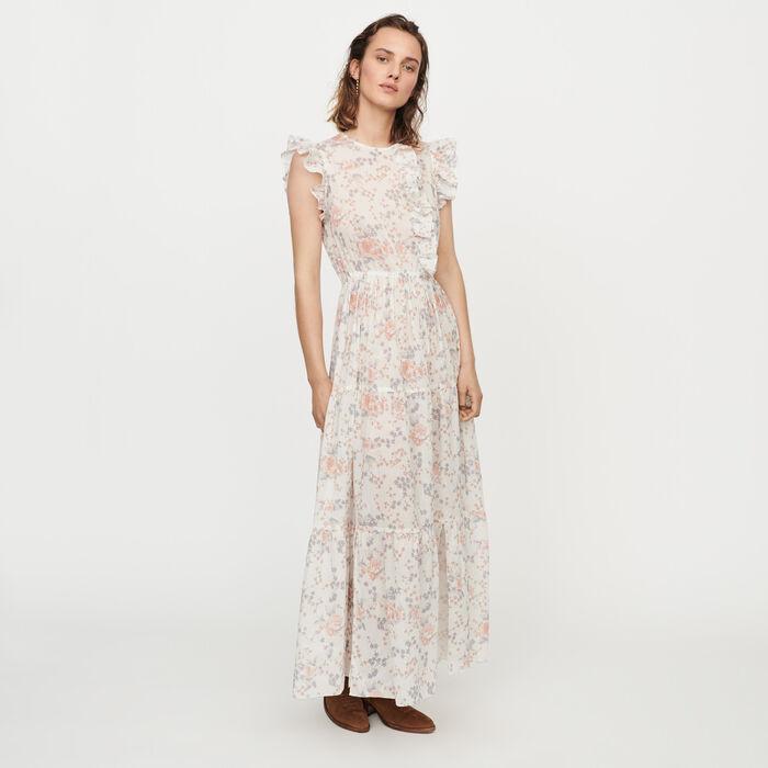 Vestido largo floral con volantes : Vestidos color Rosa