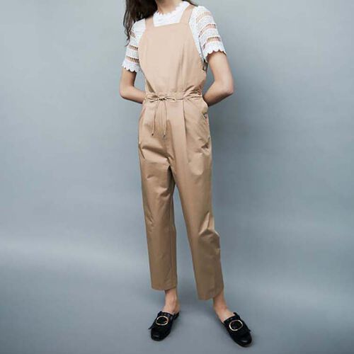 Peto de lona de algodón : Pantalones color Beige