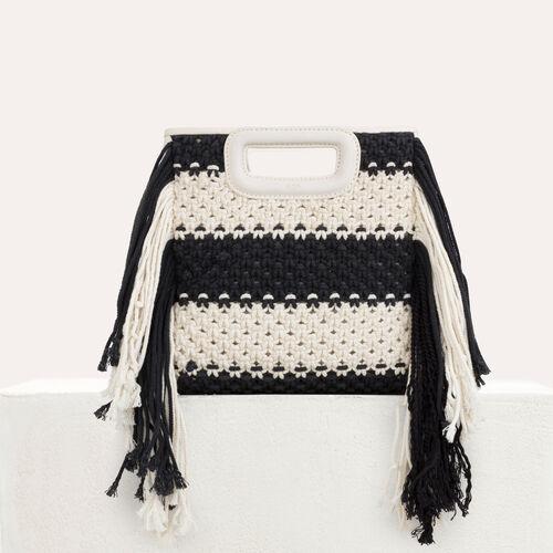 Bolso M de cuero y punto bicolor : Bolsos M color Negro