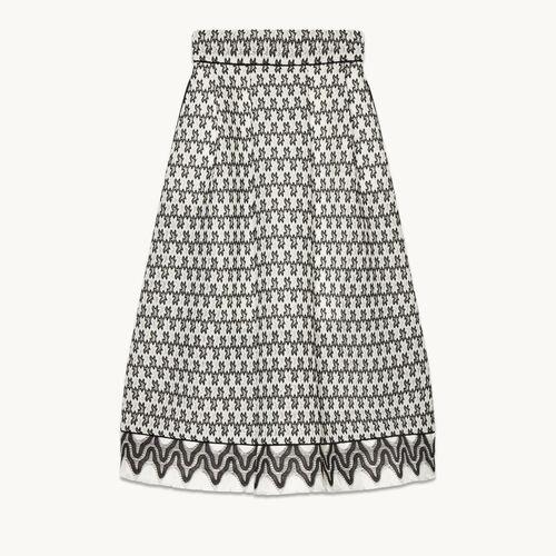Falda de largo medio de encaje - null - MAJE
