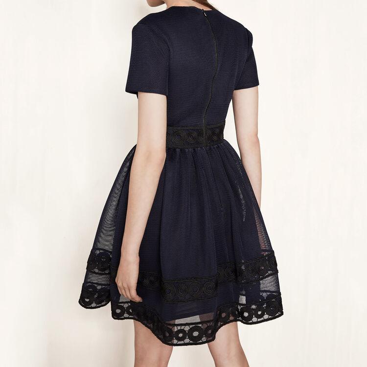 Vestido de tejido de malla con guipur : Mi mejor amigo color Noche