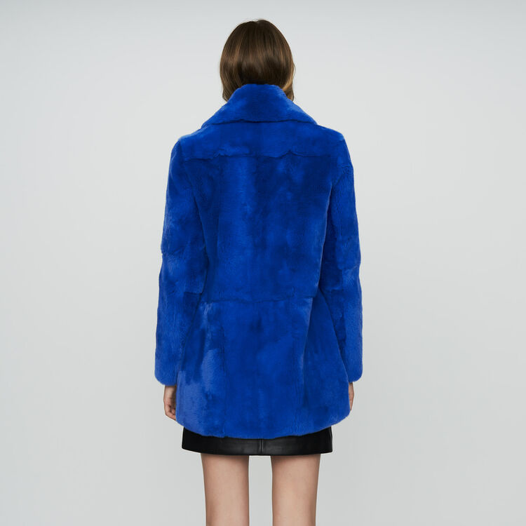 Abrigo corto de piel : Abrigos color Azul