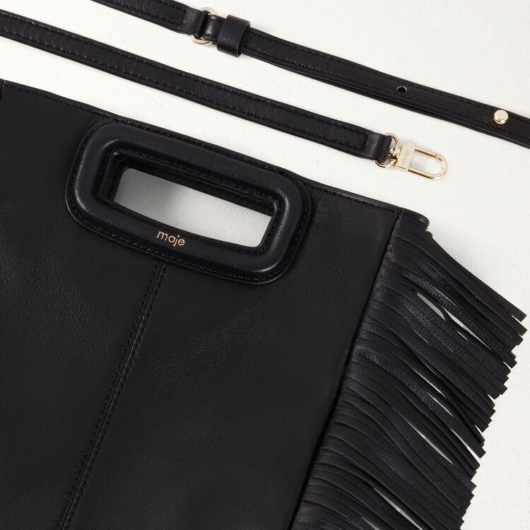 Bolso M de cuero con flecos : Piel color Negro