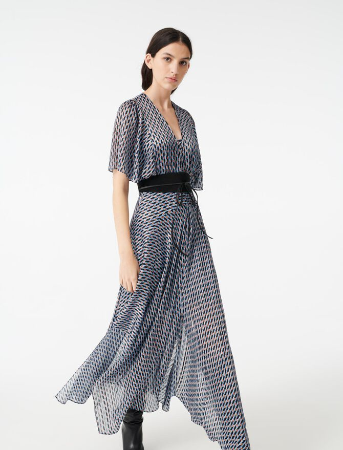 Vestido pañuelo jacquard lúrex estampado - Vestidos - MAJE