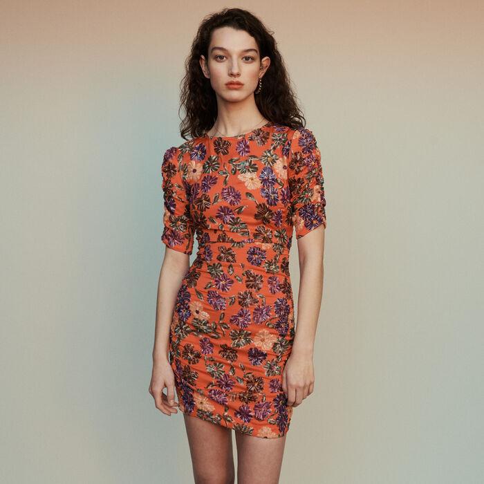 Vestido bordado de lentejuelas : Vestidos color Coral