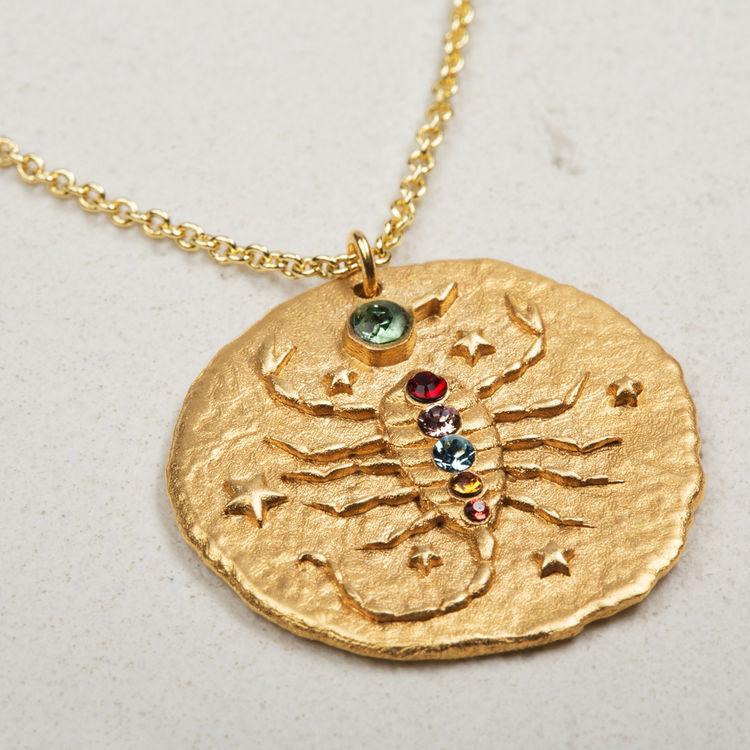 Collar de signo del Zodíaco Escorpión : Bisuteria color OR