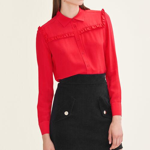 Camisa de seda con volantes : Tops color Rojo