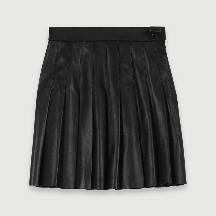 Falda plisada de cuero : Faldas y shorts color Negro