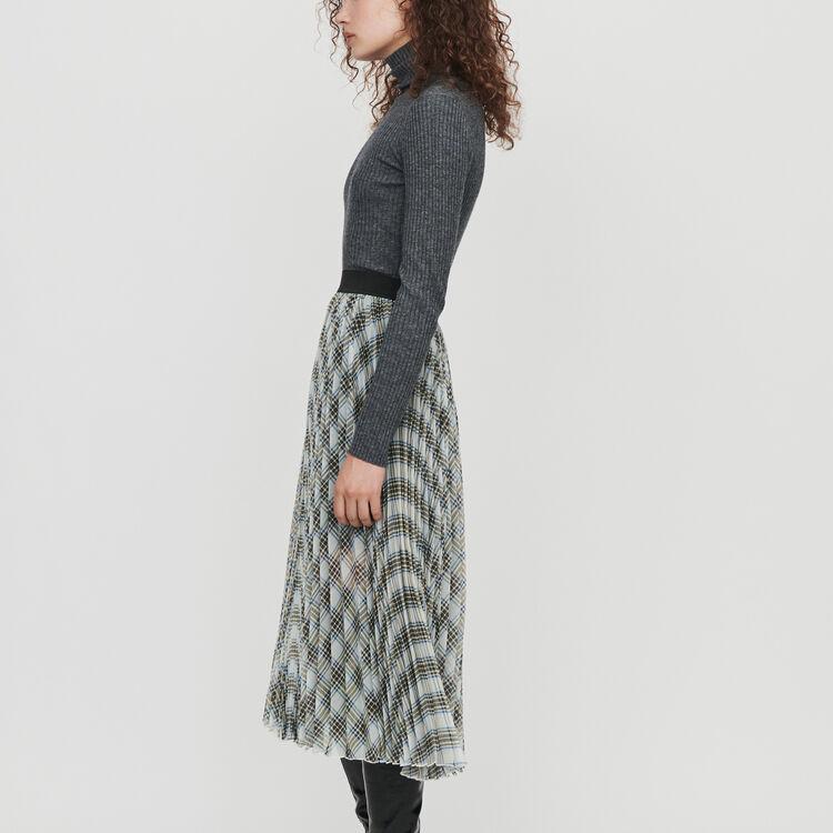 Falda de cuadros plisada en organdí : Faldas y shorts color Multicolor