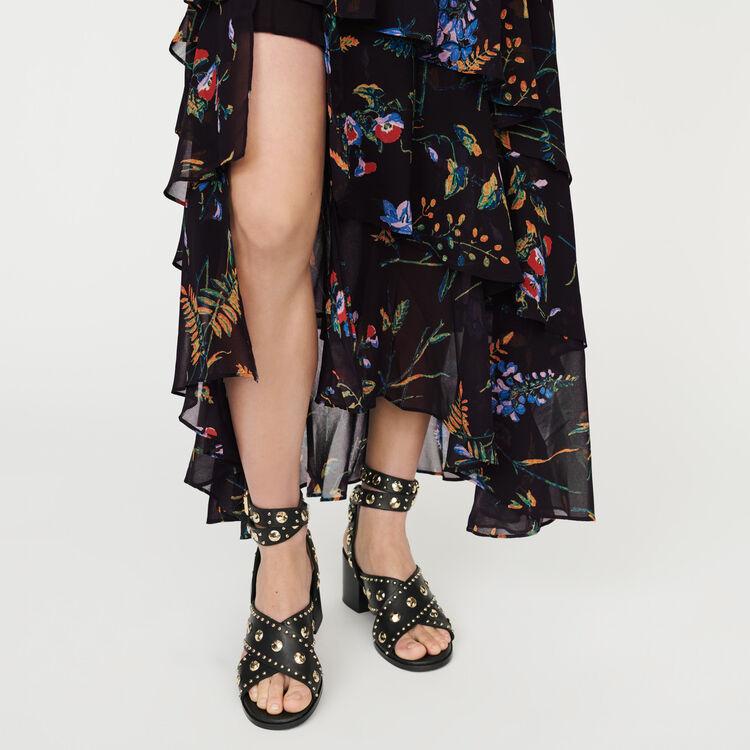 Vestido largo estampado con volantes : Vestidos color NEGRO