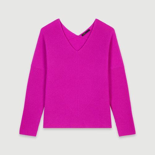Jersey cachemir cuello en pico : Jerseys y cárdigans color Violeta
