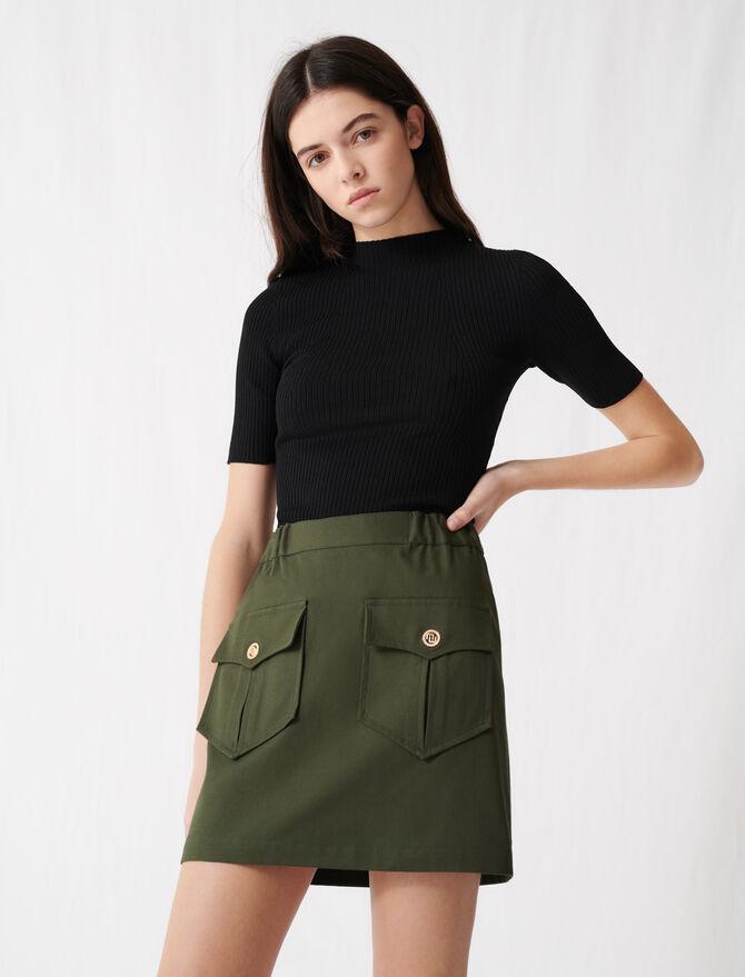 Falda caqui algodón con bolsillos - Faldas y shorts - MAJE