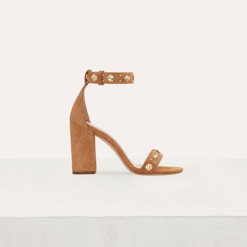 Sandalias de gamuza con tacón : Zapatos de tacón color Camel