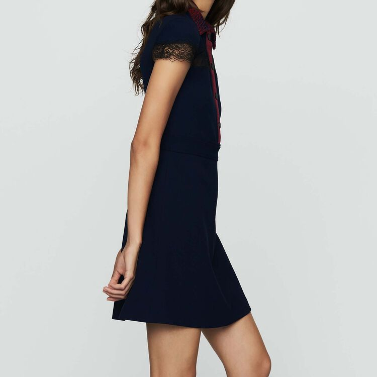 Vestido-camisero de crepé y encaje : Prêt-à-porter color Azul Marino