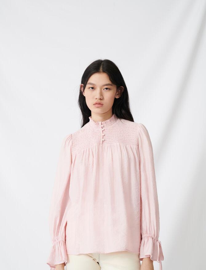 Blusa fruncida con mangas abullonadas - Tops y Camisas - MAJE