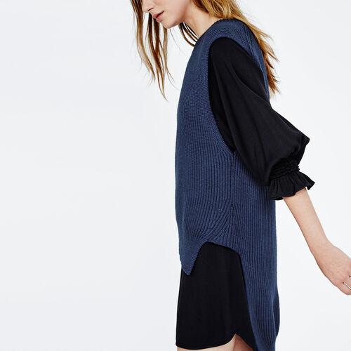 Jersey asimétrico sin mangas de lana : Precios Bajos color Azul Marino