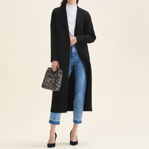 Abrigo largo de lana de doble cara : Abrigos color Negro