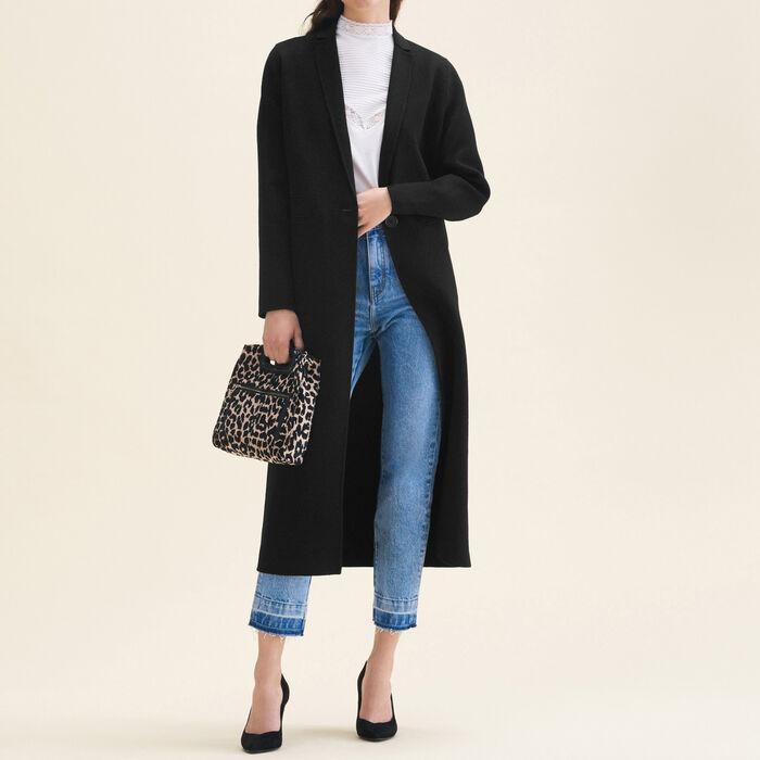 Abrigo largo de lana de doble cara : LAST CHANCE color Negro