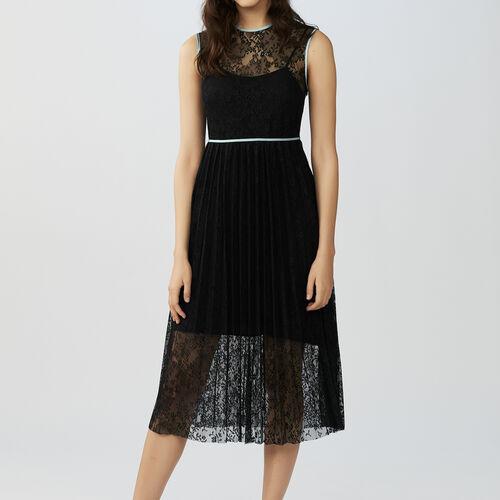 Vestido de encaje sin mangas : Vestidos color Negro