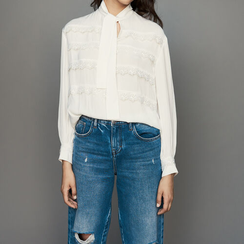 Blusa con volantes bordados : Camisas color Blanco