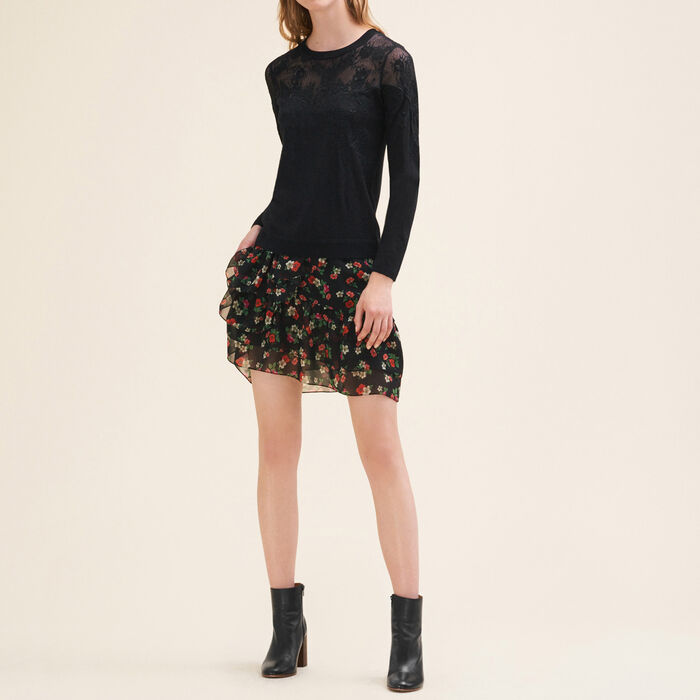 Jersey fino con encaje y bordado : Jerseys y cárdigans color Negro