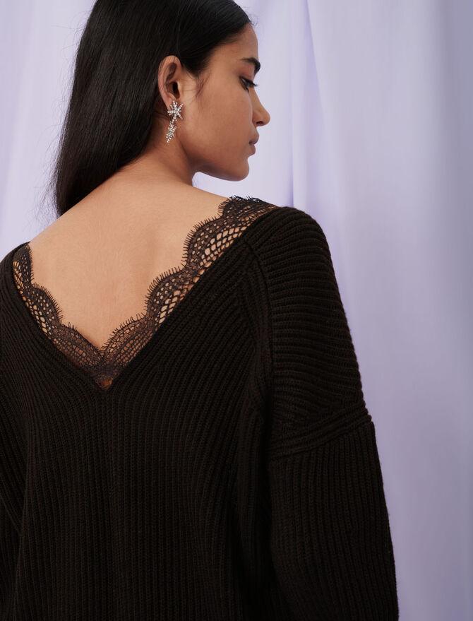Suéter con cuello de encaje - Jerseys y cárdigans - MAJE