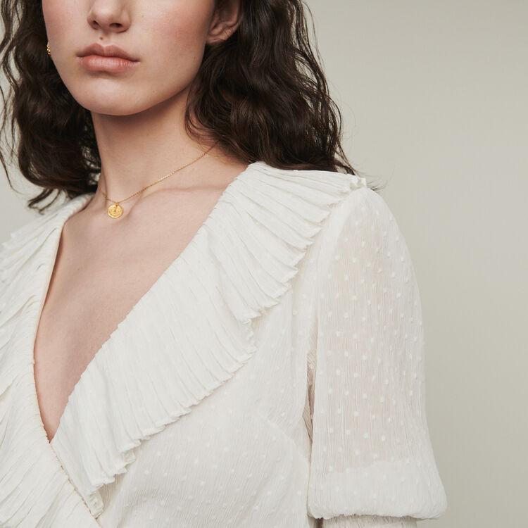 Top corto avolantado en plumetis : Tops y Camisas color Blanco