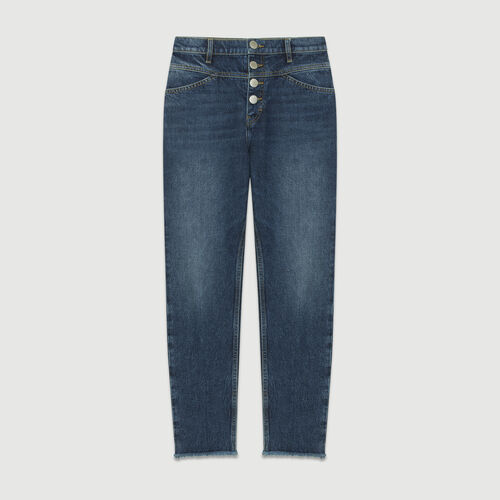 Jean recto tiro alto : Jeans color Azul
