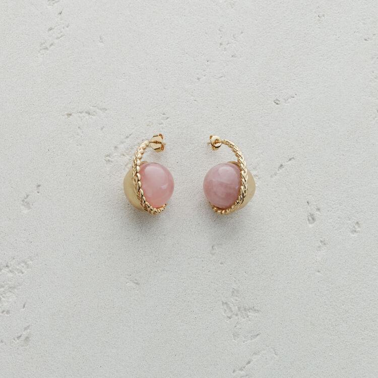 Pendiente izquierdo  en piedra natural : Bisuteria color Rosa Claro