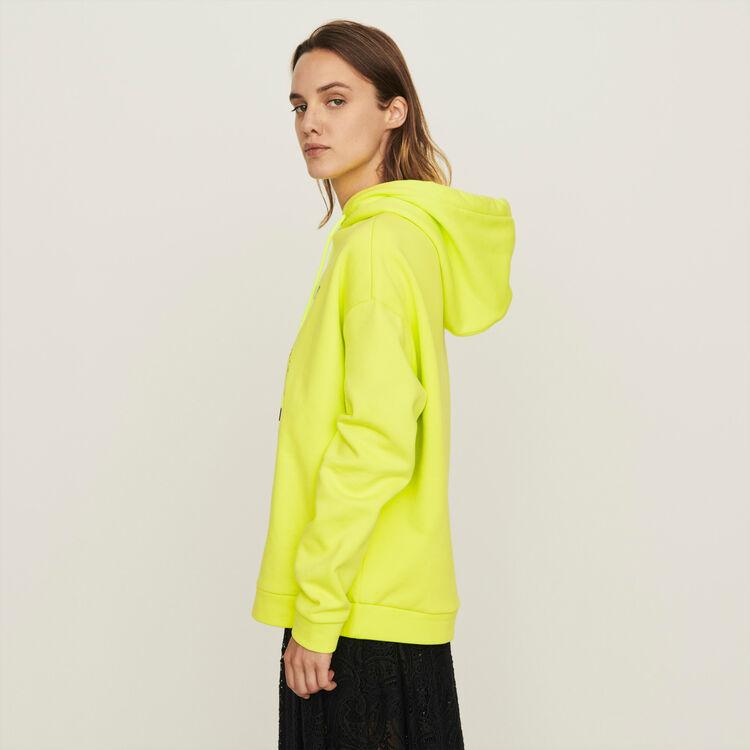Sudadera bordada con capucha : Colección invierno color Amarillo